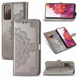 Embossing Imprint Mandala Flower Leather Wallet Case for Samsung Galaxy S20 FE / S20 Lite - Gray