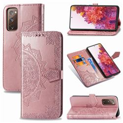 Embossing Imprint Mandala Flower Leather Wallet Case for Samsung Galaxy S20 FE / S20 Lite - Rose Gold