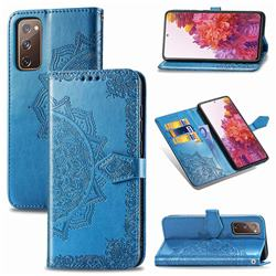 Embossing Imprint Mandala Flower Leather Wallet Case for Samsung Galaxy S20 FE / S20 Lite - Blue
