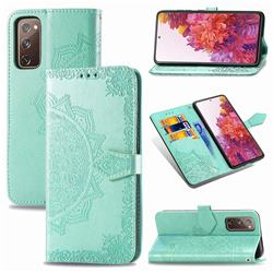 Embossing Imprint Mandala Flower Leather Wallet Case for Samsung Galaxy S20 FE / S20 Lite - Green