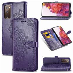 Embossing Imprint Mandala Flower Leather Wallet Case for Samsung Galaxy S20 FE / S20 Lite - Purple