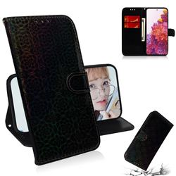 Laser Circle Shining Leather Wallet Phone Case for Samsung Galaxy S20 FE / S20 Lite - Black