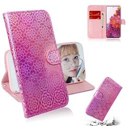 Laser Circle Shining Leather Wallet Phone Case for Samsung Galaxy S20 FE / S20 Lite - Pink