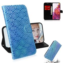 Laser Circle Shining Leather Wallet Phone Case for Samsung Galaxy S20 FE / S20 Lite - Blue