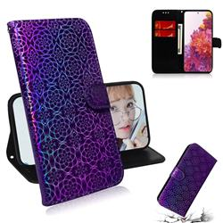 Laser Circle Shining Leather Wallet Phone Case for Samsung Galaxy S20 FE / S20 Lite - Purple