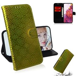 Laser Circle Shining Leather Wallet Phone Case for Samsung Galaxy S20 FE / S20 Lite - Golden