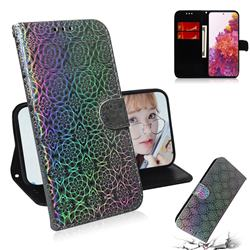 Laser Circle Shining Leather Wallet Phone Case for Samsung Galaxy S20 FE / S20 Lite - Silver