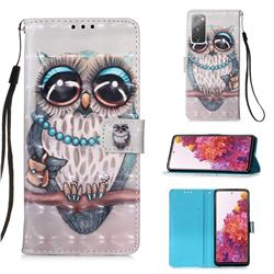 Sweet Gray Owl 3D Painted Leather Wallet Case for Samsung Galaxy S20 FE / S20 Lite