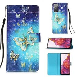 Gold Butterfly 3D Painted Leather Wallet Case for Samsung Galaxy S20 FE / S20 Lite