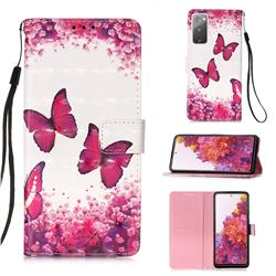Rose Butterfly 3D Painted Leather Wallet Case for Samsung Galaxy S20 FE / S20 Lite