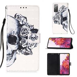 Skull Flower 3D Painted Leather Wallet Case for Samsung Galaxy S20 FE / S20 Lite