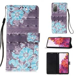 Blue Flower 3D Painted Leather Wallet Case for Samsung Galaxy S20 FE / S20 Lite