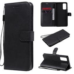 Retro Greek Classic Smooth PU Leather Wallet Phone Case for Samsung Galaxy S20 FE / S20 Lite - Black