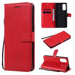 Retro Greek Classic Smooth PU Leather Wallet Phone Case for Samsung Galaxy S20 FE / S20 Lite - Red