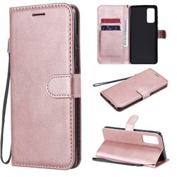 Retro Greek Classic Smooth PU Leather Wallet Phone Case for Samsung Galaxy S20 FE / S20 Lite - Rose Gold