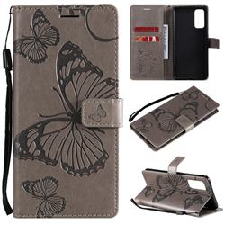Embossing 3D Butterfly Leather Wallet Case for Samsung Galaxy S20 FE / S20 Lite - Gray