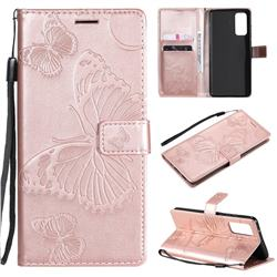 Embossing 3D Butterfly Leather Wallet Case for Samsung Galaxy S20 FE / S20 Lite - Rose Gold