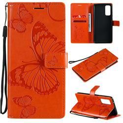 Embossing 3D Butterfly Leather Wallet Case for Samsung Galaxy S20 FE / S20 Lite - Orange