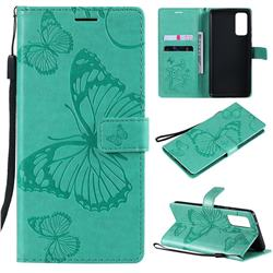 Embossing 3D Butterfly Leather Wallet Case for Samsung Galaxy S20 FE / S20 Lite - Green