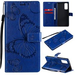 Embossing 3D Butterfly Leather Wallet Case for Samsung Galaxy S20 FE / S20 Lite - Blue