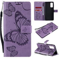 Embossing 3D Butterfly Leather Wallet Case for Samsung Galaxy S20 FE / S20 Lite - Purple