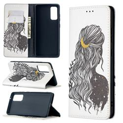 Girl with Long Hair Slim Magnetic Attraction Wallet Flip Cover for Samsung Galaxy S20 FE / S20 Lite