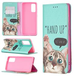 Hand Up Cat Slim Magnetic Attraction Wallet Flip Cover for Samsung Galaxy S20 FE / S20 Lite