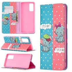 Elephant Boy and Girl Slim Magnetic Attraction Wallet Flip Cover for Samsung Galaxy S20 FE / S20 Lite