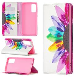 Sun Flower Slim Magnetic Attraction Wallet Flip Cover for Samsung Galaxy S20 FE / S20 Lite
