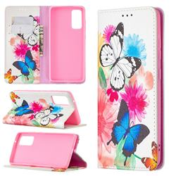 Flying Butterflies Slim Magnetic Attraction Wallet Flip Cover for Samsung Galaxy S20 FE / S20 Lite