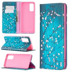 Plum Blossom Slim Magnetic Attraction Wallet Flip Cover for Samsung Galaxy S20 FE / S20 Lite