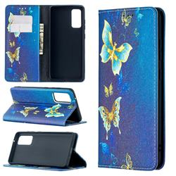 Gold Butterfly Slim Magnetic Attraction Wallet Flip Cover for Samsung Galaxy S20 FE / S20 Lite