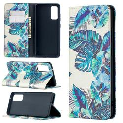 Blue Leaf Slim Magnetic Attraction Wallet Flip Cover for Samsung Galaxy S20 FE / S20 Lite