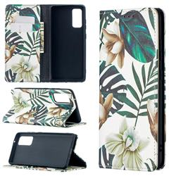 Flower Leaf Slim Magnetic Attraction Wallet Flip Cover for Samsung Galaxy S20 FE / S20 Lite