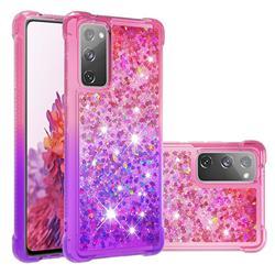 Rainbow Gradient Liquid Glitter Quicksand Sequins Phone Case for Samsung Galaxy S20 FE / S20 Lite - Pink Purple