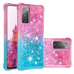 Rainbow Gradient Liquid Glitter Quicksand Sequins Phone Case for Samsung Galaxy S20 FE / S20 Lite - Pink Blue