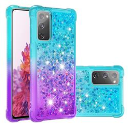 Rainbow Gradient Liquid Glitter Quicksand Sequins Phone Case for Samsung Galaxy S20 FE / S20 Lite - Blue Purple