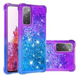 Rainbow Gradient Liquid Glitter Quicksand Sequins Phone Case for Samsung Galaxy S20 FE / S20 Lite - Purple Blue