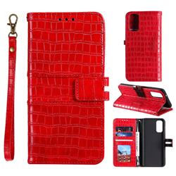 Luxury Crocodile Magnetic Leather Wallet Phone Case for Samsung Galaxy S20 FE / S20 Lite - Red