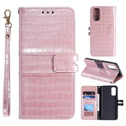 Luxury Crocodile Magnetic Leather Wallet Phone Case for Samsung Galaxy S20 FE / S20 Lite - Rose Gold