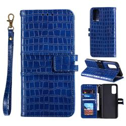 Luxury Crocodile Magnetic Leather Wallet Phone Case for Samsung Galaxy S20 FE / S20 Lite - Blue