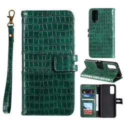 Luxury Crocodile Magnetic Leather Wallet Phone Case for Samsung Galaxy S20 FE / S20 Lite - Green