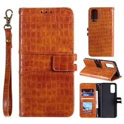 Luxury Crocodile Magnetic Leather Wallet Phone Case for Samsung Galaxy S20 FE / S20 Lite - Brown