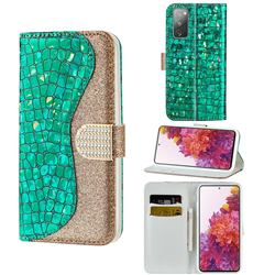 Glitter Diamond Buckle Laser Stitching Leather Wallet Phone Case for Samsung Galaxy S20 FE / S20 Lite - Green