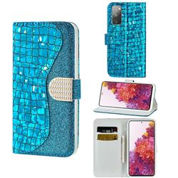 Glitter Diamond Buckle Laser Stitching Leather Wallet Phone Case for Samsung Galaxy S20 FE / S20 Lite - Blue