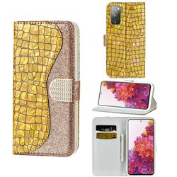 Glitter Diamond Buckle Laser Stitching Leather Wallet Phone Case for Samsung Galaxy S20 FE / S20 Lite - Gold