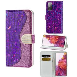 Glitter Diamond Buckle Laser Stitching Leather Wallet Phone Case for Samsung Galaxy S20 FE / S20 Lite - Purple