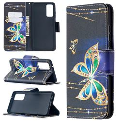 Golden Shining Butterfly Leather Wallet Case for Samsung Galaxy S20 FE / S20 Lite