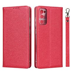 Ultra Slim Magnetic Automatic Suction Silk Lanyard Leather Flip Cover for Samsung Galaxy S20 FE / S20 Lite - Red