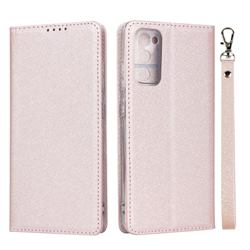 Ultra Slim Magnetic Automatic Suction Silk Lanyard Leather Flip Cover for Samsung Galaxy S20 FE / S20 Lite - Rose Gold